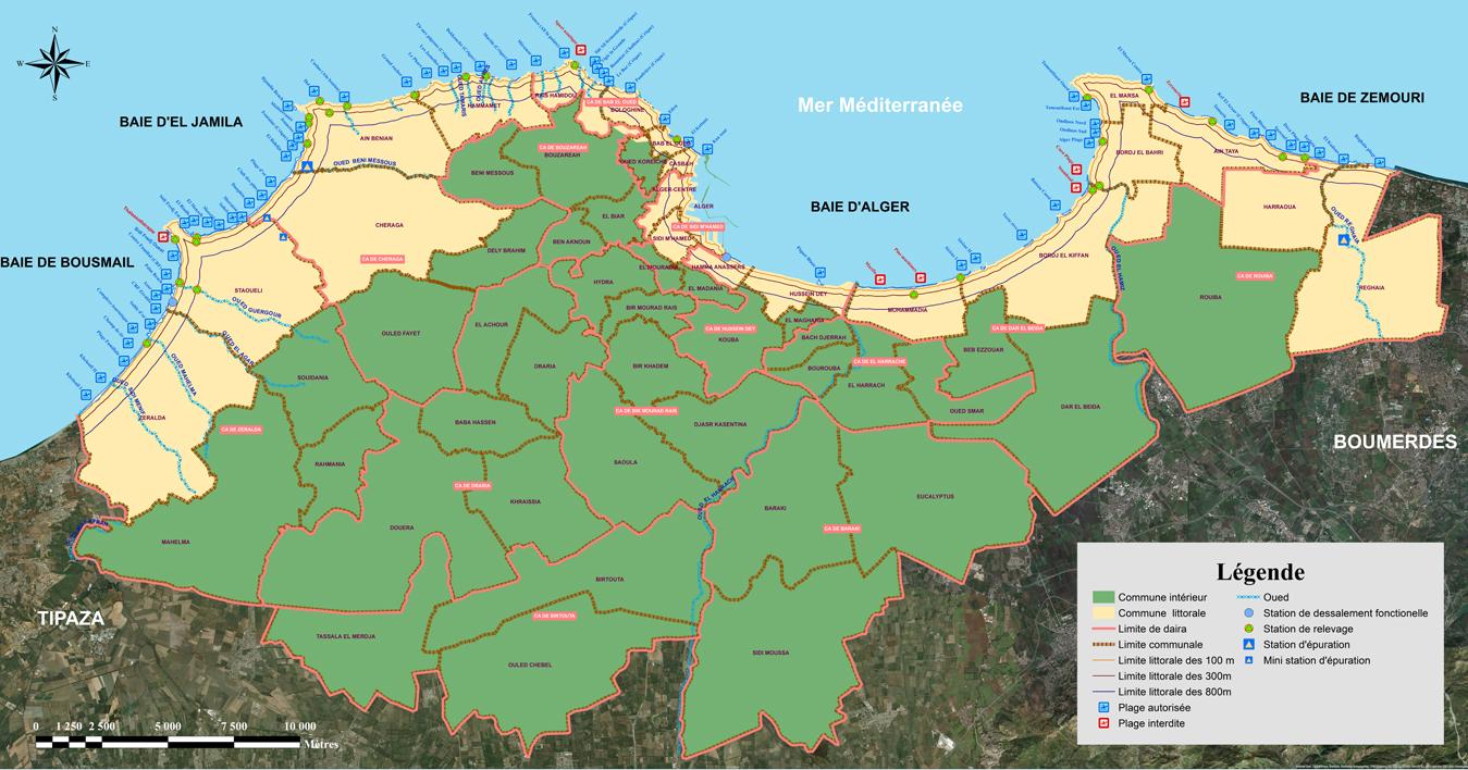 Carte de répartition  des gites  larvaires  par  communes au niveau de la wilaya d'Alger