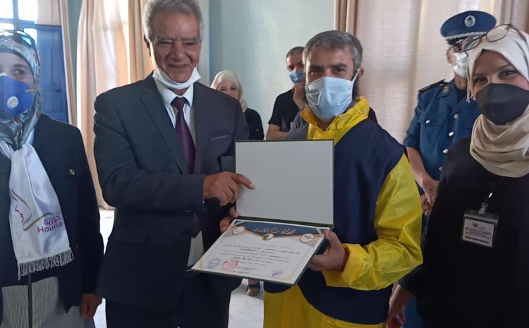 Une cérémonie en l'honneur de tous ceux qui ont contribué aux opérations de désinfection contre le Covid 19